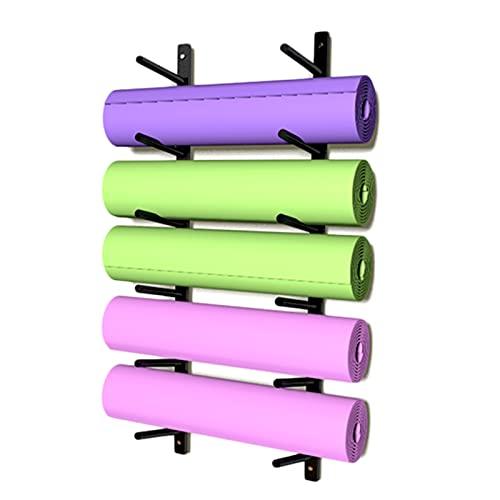 estante de la estera de yoga Montaje en pared Estante de almacenamiento de toallas y rodillos de espuma para esterillas de yoga, Estante para colgar 6 colchonetas de yoga para Home Gym & Studio, Metal