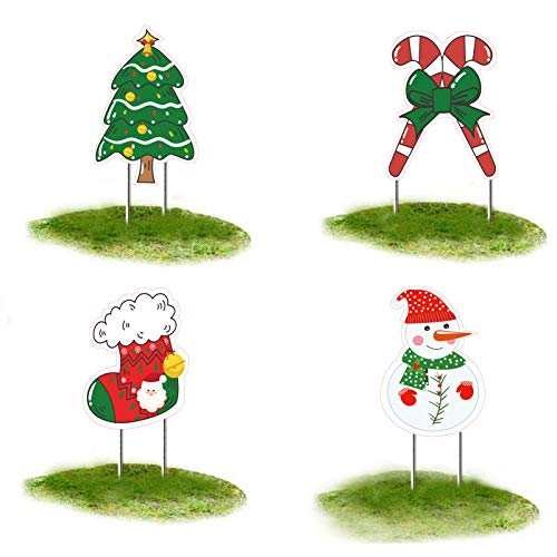 Christmas Yard Signs Outdoor Decorations Xmas Yard Sign Stakes Lawn Decor Christmas tree, santa claus, signpost, snowman,for Home Garden Pathway Walkway Themed Party Winter Wonderland (Yard Signs-3)