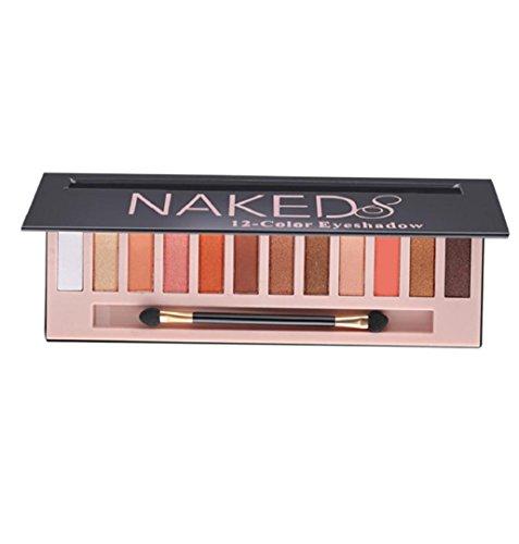 ZEZKT-Beauty ❤Lidschatten-Palette Profi-Augenpalette mit 12 Farben Nude Bronze Schimmer Smokey Eyeshadow Makeup Lidschattenpinsel Matt Naked Lidschatten-Palette Sombras (C)