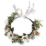 HAOSHICS Guirnalda floral de simulación para el pelo, diadema con cinta para bodas, viajes, vacaciones, fiesta de fotos (blanco lechoso)