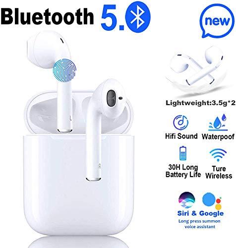 Écouteurs sans Fil Bluetooth 5.0, IPX5 écouteurs étanches Sportifs, Binaural Couplage Automatique, 3D Stéréo HiFi, Microphone intégré(pour/iPhone Android/Apple Airpods Pro/Huawei/Samsung/Xiaomi)