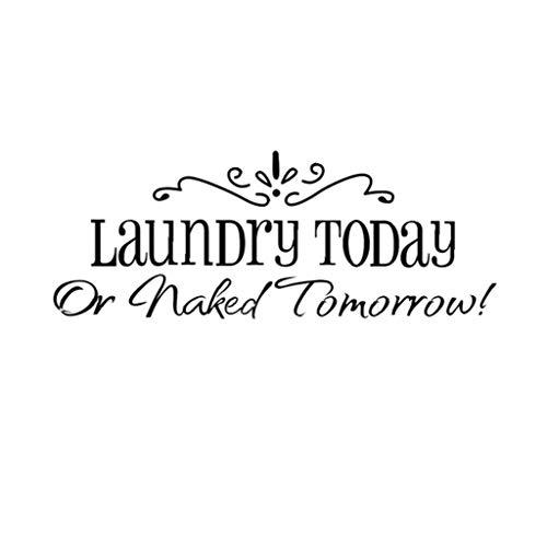 OMMO LEBEINDR Wasserdicht Englisch Letters Wäscherei Heute Wandtattoo entfernbare PVC-Wandtattoo Tapete für Wohnzimmer Schlafzimmer Küche