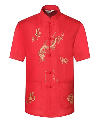 LaoZanA Herren Kurzarm Hemd + Hose Tai Chi Uniform Chinesisch Traditionell Tang-Anzug Mit dem Drachen gestickt Rot 43