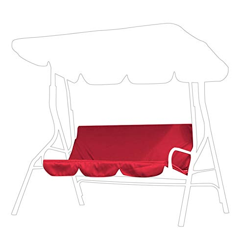Outdoor Swing Cushion 3 Seater Swing Chair Cushion Waterproof Swing Seat Pads Cushion Replacement for Patio Garden Yard(Red)