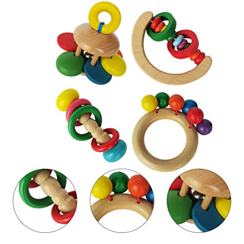 Best Buy! Toyvian 4PCS Wooden Baby Handbell Toy Early Educational Toy Interesting Music Rattle Toy f...