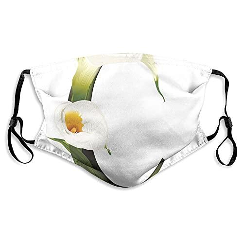 Impresión 3D de moda para proteger la cara, lirio blanco, inspiraciones de la naturaleza, letras del alfabeto C Abc, decoración facial impresa para unisex
