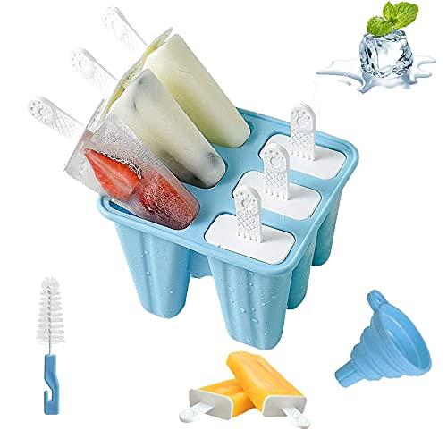 Moldes para Helados de Silicona, Reutilizable Molde para Hacer paletas para Hacer Helados, 8 Juego de Moldes para polos--6 Moldes de helado, 1Plegable Embudo,1cepillo de limpieza,libres de BPA