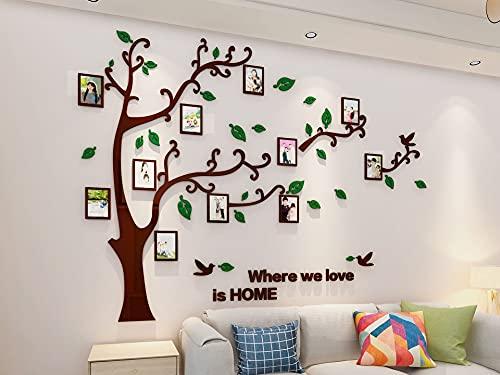 Asvert 3D Wandaufkleber Stereo Abnehmbare Wandtattoo grüne Blätter und brauner Baum Wohnzimmer Schlafzimmer Kinderzimmer Sofa Bilderrahmen mit Stickern