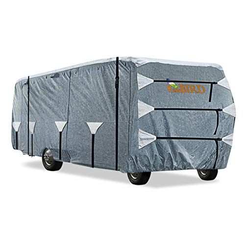 KING BIRD Upgraded Class A RV Cover, Extra-Thick 5 Layers Anti-UV Top Panel, Durable Camper Cover, Fits 40'- 43' Motorhome -Breathable, Water-Proof, Rip-Stop with 2Pcs Extra Straps & 4 Tire Covers
