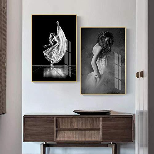 Zszy Ballerinas wit zwart dames poster afbeeldingen muurkunst canvas decoratie voor woonkamer modern artistic 50 x 70 cm x 2 stuks zonder lijst