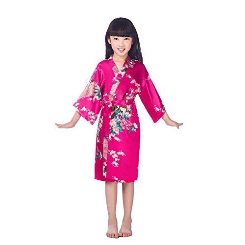 Traje De Kimono De Satén para Niñas Muy Cómodo Bata De Noche De Seda para Albornoz De Entre 5 Y 14 Años. (Color : Pink 2, Tamaño : 12)