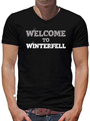 TShirt-People Welcome to Winterfell V-Kragen T-Shirt Herren Thrones Stark Game XXXL Schwarz