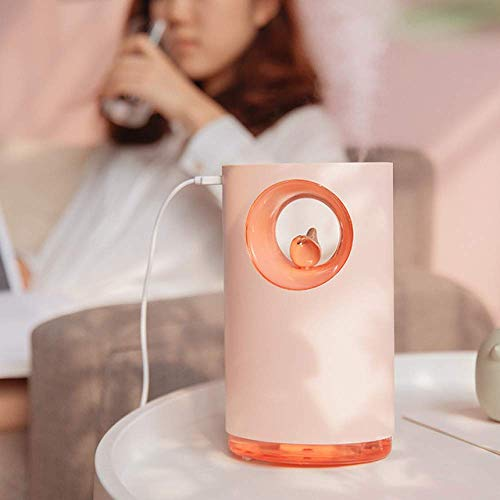 YNHNI Air Humidifier Soothing Pressure Natural Bird Song 400Ml Usb Aromatherapy Essential Oil Diffuser Light Atomizer (Color : Pink)