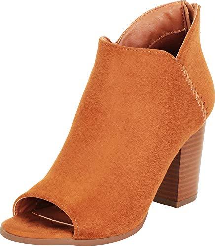 Cambridge Select Women's Open Toe Whipstitch Chunky Stacked Block Heel Shootie Ankle Bootie,7 B(M) US,Tan IMSU