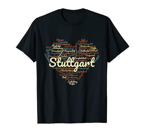 Stuttgart T-Shirt mit allen Stadtteilen - Stuttgart Herz