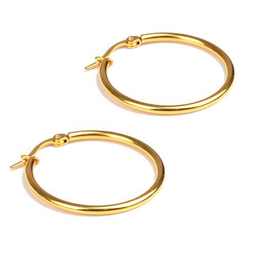 Beydodo 1 Par Pendientes Acero Inoxidable Pendientes Aro Pendientes Mujer Pendientes Hombre Pendientes Oro 50MM Ear Piercing