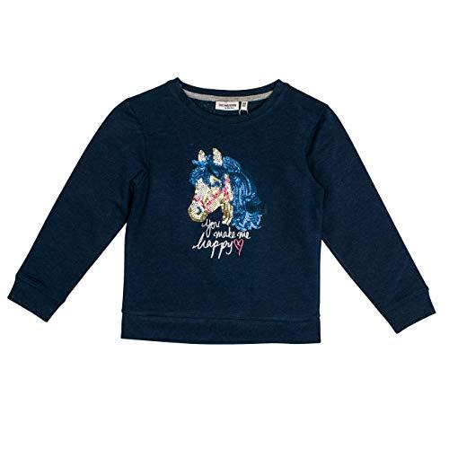 Salt & Pepper Mädchen Horses Happy Pferdekopf Pailletten Sweatshirt, Blau (Navy Blue Melange 460), 116 (Herstellergröße: 116/122)