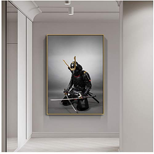 Japanese Samurai Sword Armor Posters and Prints Canvas Painting Art Wall Pictures for Living Room Home Decoration -60x80cm No Frame