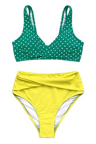 CUPSHE Women's High Waisted Push Up Bikini Set Mist and Noct Print Swimwear (Large (USA 12/14),...