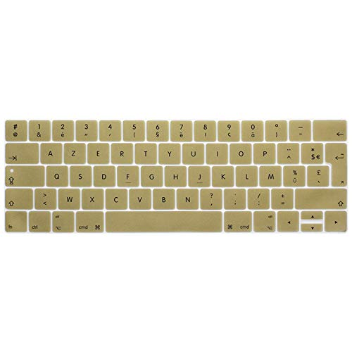 Clavier AZERTY Layout Silicone Keyboard Cover For New Macbook Pro 13 15 with Touch Bar A1706 A1707 A1989 A1990 Skin Protector-Gold