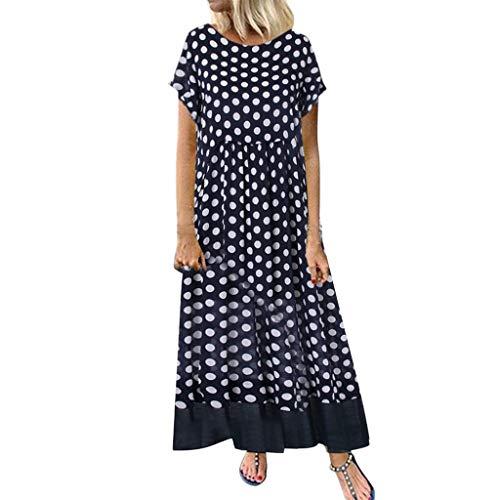 Reooly Vestido Largo de Verano para Mujer Falda de Dos Piezas con Cuello Redondo y Manga Corta Falda de Talla Grande