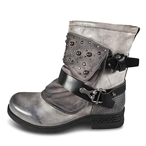 Damen Stiefel Biker Boots Stiefeletten gefüttert Nieten Used Look ST94 (ST94 Grau, 39)