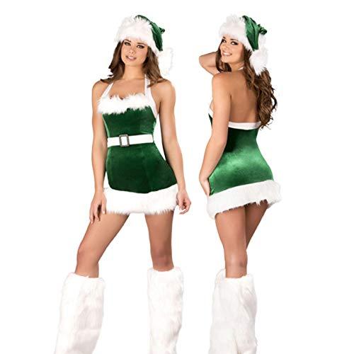 knowledgi Disfraz de Papá Noel con tirantes para mujer, con cubierta para los pies y sombrero, disfraz de Navidad