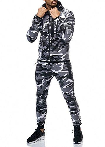 Cabin Herren Camouflage Jogginganzug Jogging Hose Jacke Sportanzug Weiß XL