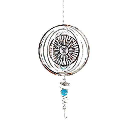 fuguzhu Edelstahl Windspiele, Sonne Wind Spinner mit Kugelspirale, 3D Elegante Wind Glocke, Hängend Fenster und Garten Metall Dekoration