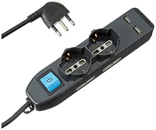 Electraline 62095 Multipresa 6 Posti 2 Polivalenti Schuko 4 Bivalenti 10/16A 2 Prese USB 2.1A -Cavo 1,5 M, Nero