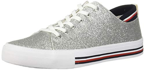 Price comparison product image Tommy Hilfiger Women's Two Sneaker,  Silver,  8.5 M US