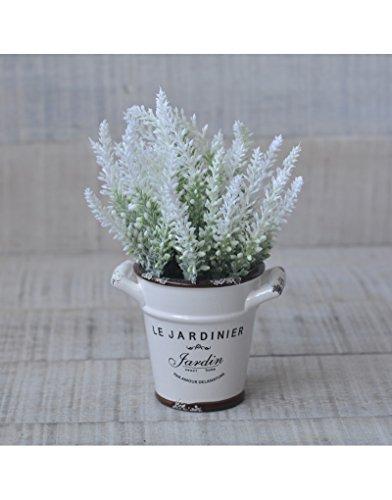 Planta Artificial de Lavanda con Original Maceta de cerámica en 3 Colores Flower Power - Hogar y más - Blanco