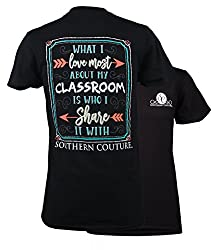 Southern Couture Classic Love My Classroom Womens Inspirational T-Shirt - Black