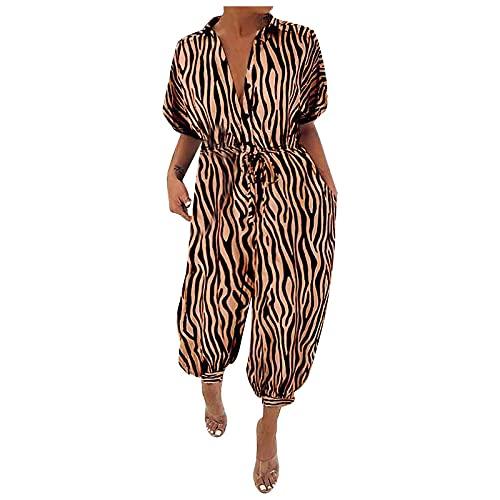 MGHH Mono femenino retro femenino de manga corta, estampado de leopardo, cintura alta, botón, suelto, café, M