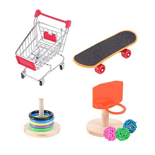 Balacoo Papagei Spielzeug Mini Einkaufswagen Trainingsringe Skateboard Stand Barsch Lustiges Interaktives Spielzeug für Wellensittich Sittich Nymphensittich Conure Lovebird