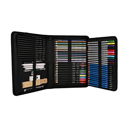 71 Professionnel Colore Crayons de Dessin Art Set Malette Dessin Inclus Pastel, Aquarelle, Charbon de Bois,métallique Crayons de Couleur et Materiel Dessin,Idéal Cadeaux pour Adulte Enfant