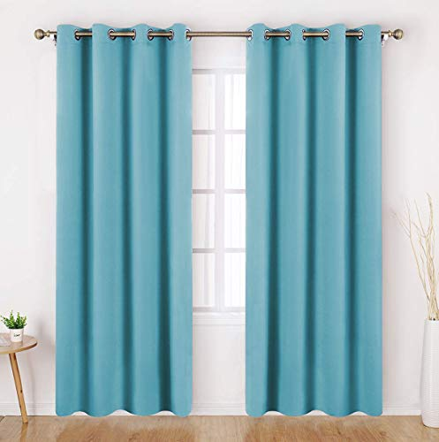 HOMEIDEAS Teal Blue Blackout Curtains for Bedroom 52 X 84 Inch Long 2 Panels Set Room Darkening Curtains/Drapes, Soundproof Thermal Grommet Window Curtains for Living Room