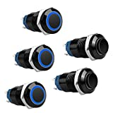 5PCS 12mm Latching Push Button Switch 5A 12V DC Pushbutton Switch 1NO1NC SPST ON/OFF Switch Black Metal Shell with Blue LED Ring Light, Waterproof Self-Locking Pushbutton Switch for 1/2' Mounting Hole