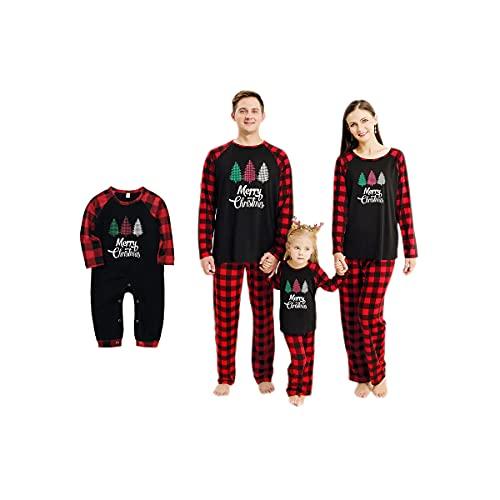 Haokaini Pijamas de Navidad Ropa de Dormir a Juego con la Familia Camisón de Navidad para bebés, niños, Padres(Mujer,S Regular)