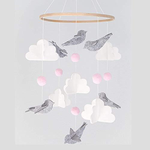 Baby Windspiel Mädchen, Mobile für Babybett, Mobile Wickeltisch, Bettglocke Windspiel, Home Filz Windspiele mit Kleinen Vögeln, Mobile krippe für Jungen und Mädchen