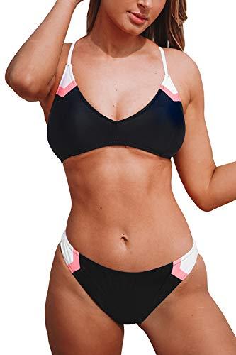 CUPSHE Women's Navy Sport V Neck Lace Up Bikini Large