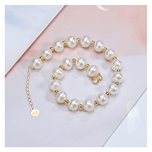 FKKLGNBDR Pulsera Pulsera de Perlas de Perlas de Agua Dulce Ronda natruales para Las Mujeres Real 18k Pulsera de la Cadena de Oro Amarillo de 18 k Oro Amarillo de 18k Pulseras de Mujer