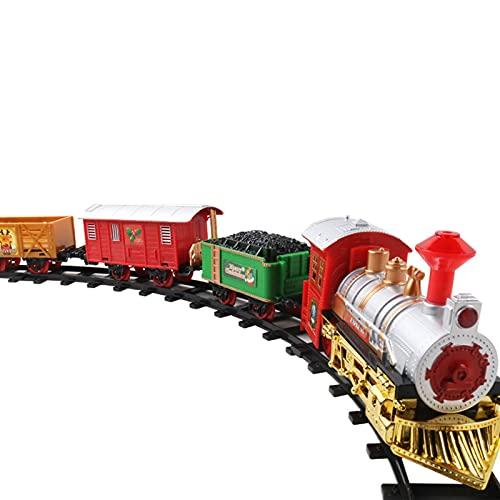 XIAMUSUMMER Trenino Natalizio, Trenino Elettrico Natalizio, Classico Set di Binari del Treno A Vapore di Babbo Natale con Luci E Suoni, Regali di Natale per Bambini