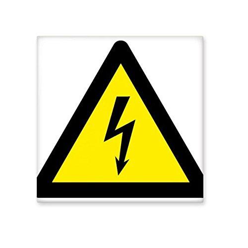 Advertencia símbolo amarillo negro descarga eléctrica triángulo Mark Logo avisos de cerámica...