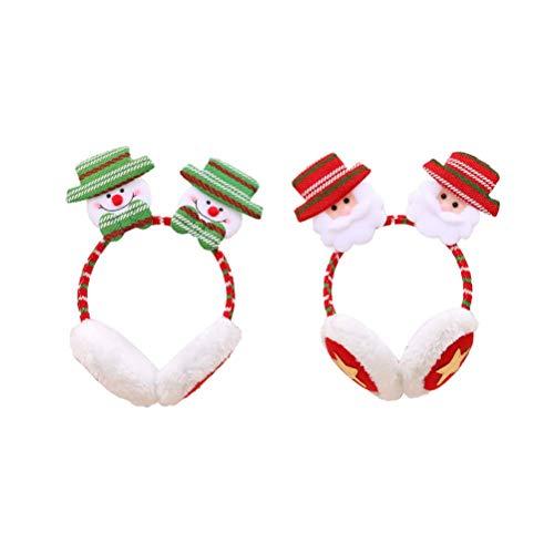 GYC 2pcs Weihnachten Stirnbänder Ohrenschützer Schöne Cartoon Kunstpelz Ohrenschützer Kreative Weihnachten Kopfschmuck Party Kostüm Zubehör Weihnachtsmänner Schneemann Muster Ohrenschützer