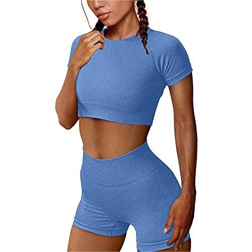 Lazzboy Jogginganzug Damen Einfarbig Frauen Nahtlose Hoch Taillierte Sportshorts Workout Set Shorts & Shirt Leggings Sportwear Yoga Outfits Jogging Gym Sportkleidung Fitnessanzug ( Blau,M )