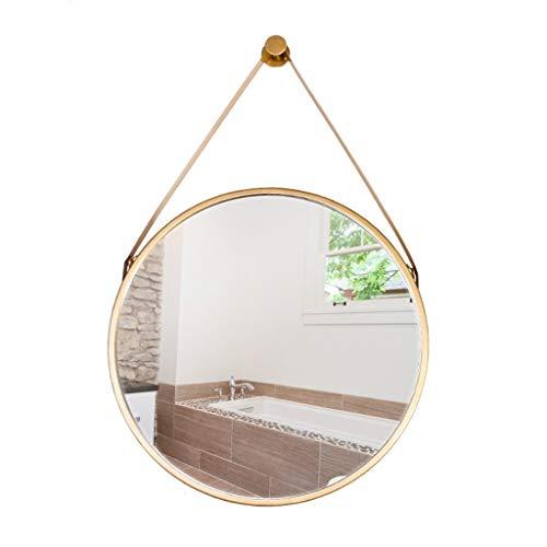Ronde wandspiegel decoratieve spiegel met ophangriem, incl. ophangsysteem Home Decor J4/7 40cm Goud