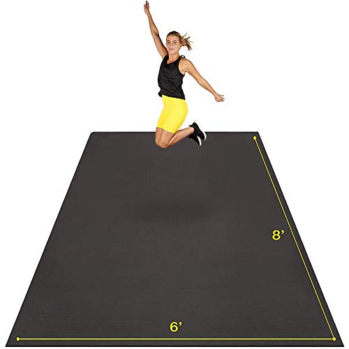 Large Exercise Mat 8' x 6' x 7mm | Ultra-Durable Non-Slip Rubber Workout Mat for Home Gym Flooring | Ideal for Cardio, Fitness, Plyo, MMA and Yoga | Jump Rope and Storage Bag Included - Black