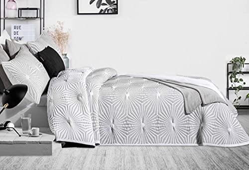 Manterol Juego de colcha con cojín, modelo Hexagon, para cama de matrimonio, color gris