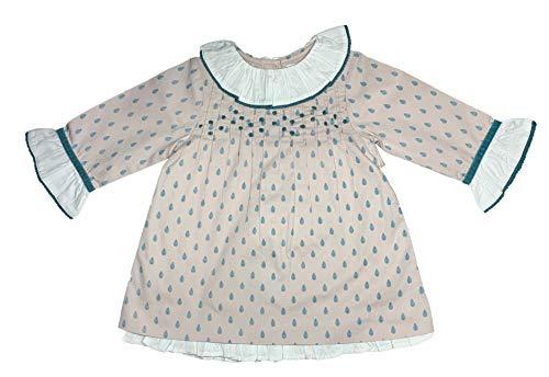 Patricia Mendiluce - Vestido otoño-Invierno niña y Bebe Pliegues Cuello Volante Manga Larga - Arbolitos Verde Fondo Gris Claro